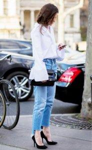 衬衫搭配复古高腰牛仔裤 体验下Oversize的魅力