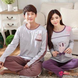幸福是在这个浪漫的季节里穿着美丽的情侣家居服