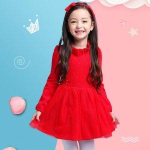 小女孩长袖连衣裙,春季打造时尚美少女