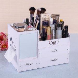 多余的化妆品放在这样的收纳盒里,化妆桌看着都精美了很多