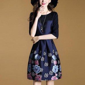8款A字型七分袖连衣裙,无敌遮肉无惧腿短,衬托你的曼妙身姿