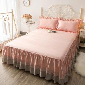 现在不兴传统床单,这样的防滑床裙更流行,浪漫精致又好看