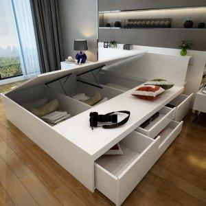 今年流行的多功能床,舒适豪华还有超大储物功能,小户型也有春天