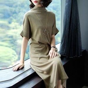 宽松、显瘦、针织连衣裙