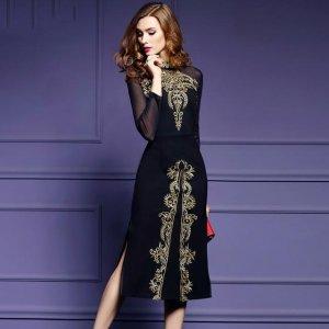 款款都美出了新高度――收腰显瘦的复古刺绣连衣裙